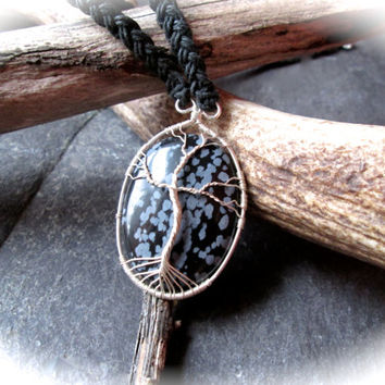 Snowflake Obsidian Sterling Silver Necklace, Tree of Life Wire Wrap Pendant on Celtic Braided Black Hemp, Norse Yggdrasil Kabbalah Tree