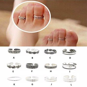 Ring Sets Mix Celebrity Simple Retro Carved Flower Adjustable Toe/Foot Ring Finger Ring Women Jewelry