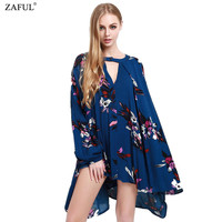 Spring Fall Women Dresses Floral Print Keyhole Neckline Hollow Out Long Sleeve Straight Loose Boho Beach Short Mini Dress