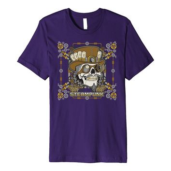Fantasy Steampunk Mechanical Skull Top Hat Goggles T-shirt
