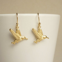 Brass Gold Hummingbird Earrings, Bridesmaid Gift. Minimal Jewelry,Gift under 15