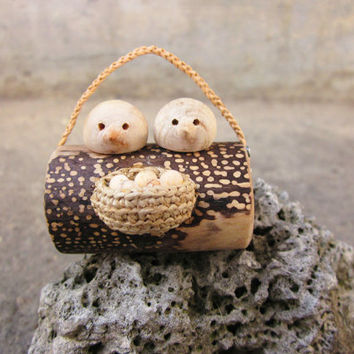 Loving Birds with nest wall art, wood carving miniature, reclaimed sculpture, wall hanging, unique wall decoration