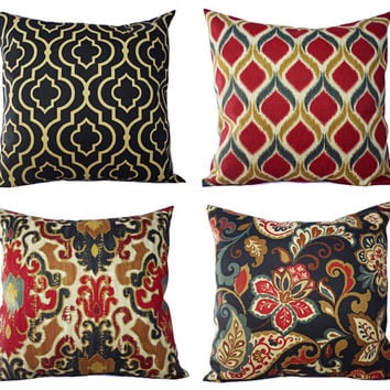 Two Decorative Pillow Covers Navy and Maroon - 16 x 16 Inch Throw Pillow Cover - Moroccan Trellis Pillow - Quatrefoil Pillow -Suzani Ikat