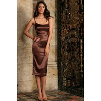 Chocolate Brown Evening Prom Cocktail Party Bodycon Midi Dress - Women
