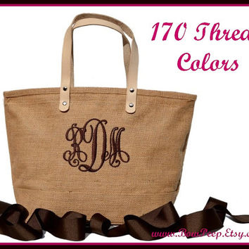 Monogrammed Natural Color Jute Tote Bag - Personalized Natural Burlap totes - Beige, Sand, Beach, Tropical - jute classic summer purse
