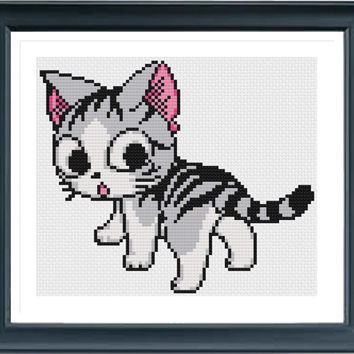 Cat 62240 Cross Stitch, Animal Cross Stitch, Cross Stitch Pattern, Simple Cross Stitch, Modern Cross Stitch, Cute Cross Stitch