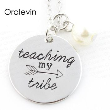 TEACHING MY TRIBE Inspired Motivational Arrows Charms Pendant Necklace Jewelry Gift For Teacher 10Pcs/Lot,#LN313