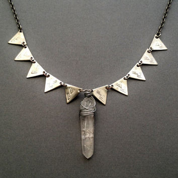 Vision Quest- Raw Quartz Crystal Necklace with Silver Pyramid Stud Spikes- Silver Chevron Arrow Necklace