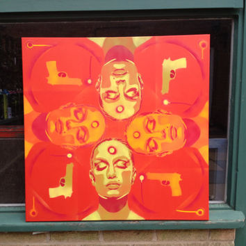 Painting of 4 womens faces and guns,skin deep series,russian roulette,stencil art,spray paint,canvas,red,yellows,orange,pop,abstract,urban