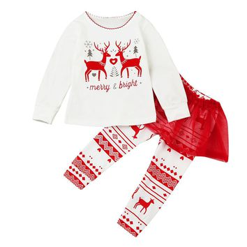 Christmas Clothes Long sleeve sets for baby wear Toddler Baby Girls Letter Deers Tops+Tutu Pants 2Pcs Set Outfits Girls