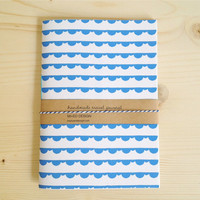 Travel Journal with Blue Pattern Hand Bound Journal Sketchbook, Graduation Gift