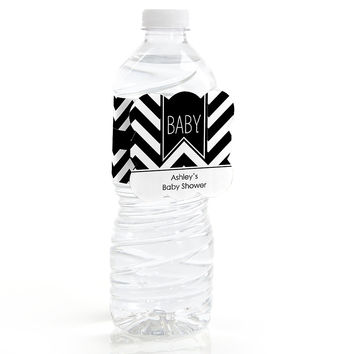 Chevron Black and White - Personalized Baby Shower Water Bottle Label Favors