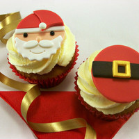 12 Christmas Cupcake Fondant Toppers, Santa Face Santa's Belt Fondant Cake Toppers, Christmas Edible Toppers,Christmas Party Toppers
