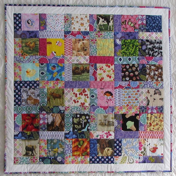 """SALE I-spy Quilt for Baby or Child - 43"""" x 43"""" - Ready to Ship - Children's Visual and Memory Game  - Pink Purple Green - Kate Spain"""
