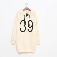 Elastane Pink long sleeve V-neck number print black drawstring fleece hooded hoodie  style zz909020 in  Indressme
