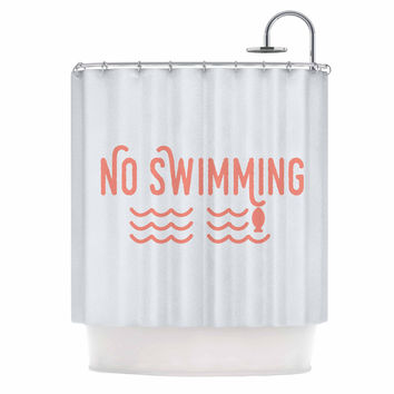 """Jackie Rose """"No Swimming"""" Pink Typography Shower Curtain"""