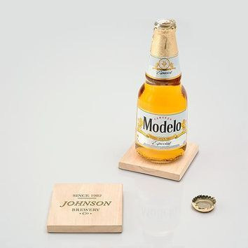 Natural Wood Coaster with Built-in Bottle Opener - Brewery Co. Etching (Pack of 1)