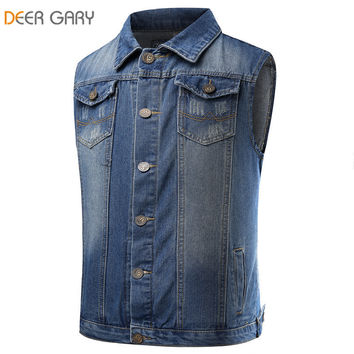 2016 new man cowboy vest fashion printed single breasted jmens jeans vest vintage washed denim waistcoat  tank top
