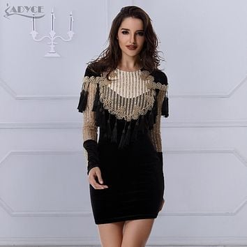 Celebrity Runway Velvet Dress Gold Black Gorgeous Beading Tassels sequins Long Sleeve mesh Women Bodycon Party Dresses