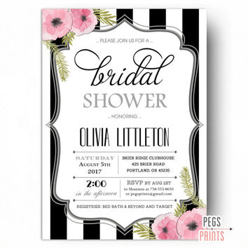 Black and White Bridal Shower Invitations - Watercolor Bridal Shower Invitation PRINTABLE - Floral Bridal Shower Invitation - Flower Bridal