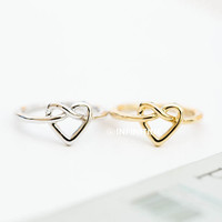love tie knot heart knuckle ring,heart knuckle ring,knuckle ring,brass knuckle,heart ring,knuckle jewelry,mid knuckle ring,wedding ring