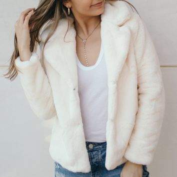 Teddy Faux Fur Coat-Ivory