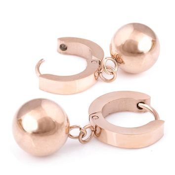 Rose Gold Stainless Steel Cubic Zirconia Small Round Ball Drop Hoop Earrings