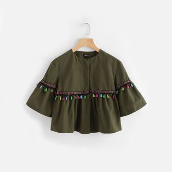 Flare Sleeve Tassel and Embroidered Tape Jacket Autumn Green Jackets Coats Women Single Breasted Collarless Jacket