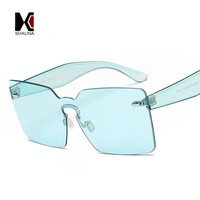 SHAUNA Spring Summer Styles Oversized Women Square Sunglasses Fashion Men Rimless Tint Lens Glasses