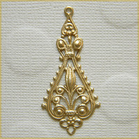 Raw Brass Filigree Ornate Earring Dangle Pendant Stamping 20mm x 43mm - 4 pcs.