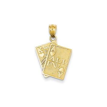 14k Yellow Gold All In! King and Ace Playing Cards Pendant