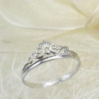 Tiffany inspired crown ring, solid 925 silver ring