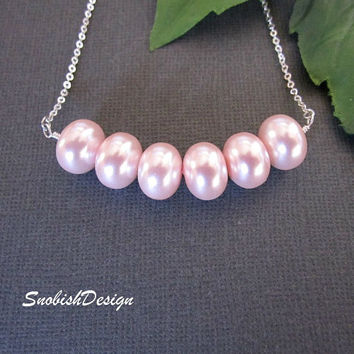 Statement Necklace Carrie Necklace Pink Pearl by SnobishDesign
