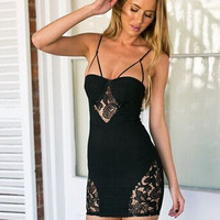 Spaghetti Strap Patchwork Lace One Piece Dress [6338906753]