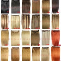 """16""""-32"""" 1pcs Set Single Hairpieces 100% Brazilian Remy Hair Clips In on Human Hair Extensions Double Weft 70g-220g"""