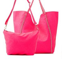 Neon Pink Neon Cross-Body Bag & Chain LinkTote by Charlotte Russe