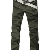 Men Fashion Big Pocket Korean Style Slim Casual Green Long Cotton Pants M/L/XL/XXL/XXXL@WH0114gr $19.99 only in eFexcity.com.