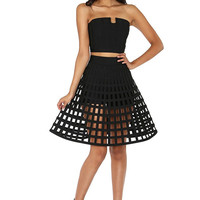 Caged Flare Skirt 2-Piece Bandage Set Style #KB793