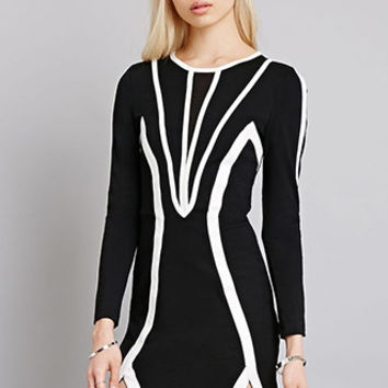 Tiger Mist Contrast Striping Bodycon Dress