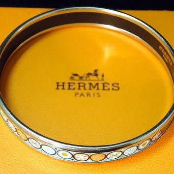 Vintage Designer Hermes Enamel Bangle Bracelet With Box