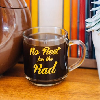 No Rest for the Rad Retro Coffee Mug-groovy mug-glass coffee mug-vintage inspired mug-retro mug