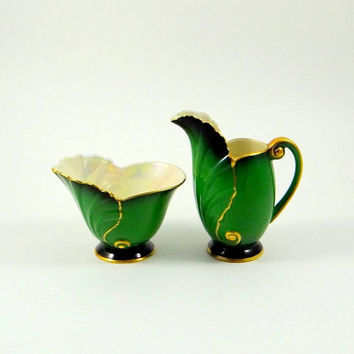 Vintage Carlton Ware Vert Royale Sugar and Creamer from 1940s