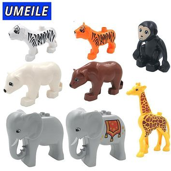 UMEILE Brand 1PCS Original Duplo Animal Large Particle Building Blocks Zoo Set Kids Toys DIY Brick Compatible With Duplo Gift