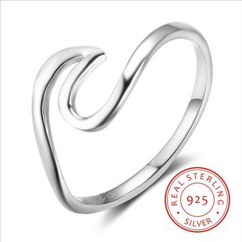 Ocean Jewelry 925 Sterling Rings Wave  Ring Nautical Ring outdoor sports series jewelry YLQ0628