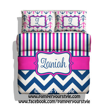 Monogrammed Striped and Chevron Nautical Anchor Bedding - Hot Pink and Navy Bedding - Personalize with Name or Monogram - Create your Bed