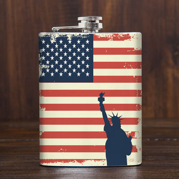 American Flag flask - USA flag - Red White Blue - Statue of liberty - 4th of July - Dad gifts - 7 oz whiskey hip flask