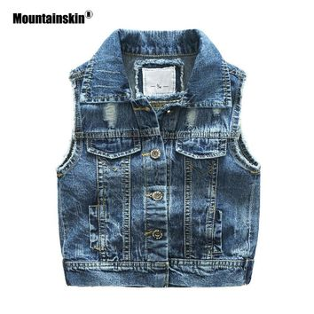 Trendy Mountainskin Baby Girls Denim Vest 2018 Spring Autumn Girls' Denim Jackets Kid Coat Children's Jacket Outwear Kids Clothes SC857 AT_94_13