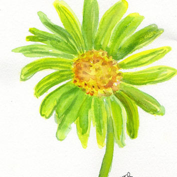 Lime Green Gerbera Daisy painting, Original Watercolor Gerber Daisy ART
