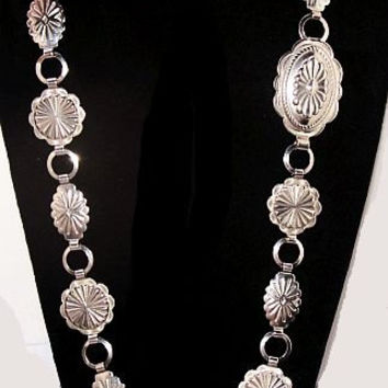"""Concho Belt South Western Style Silver Plated Metal Indian Symbols 33"""" Vintage"""