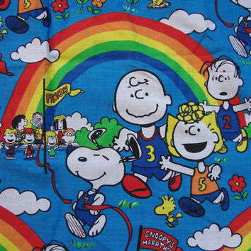 Snoopy 1970s Peanuts Curtains Fabric  Charlie Brown Snoopy Sally Linus Lucy 1 pair
